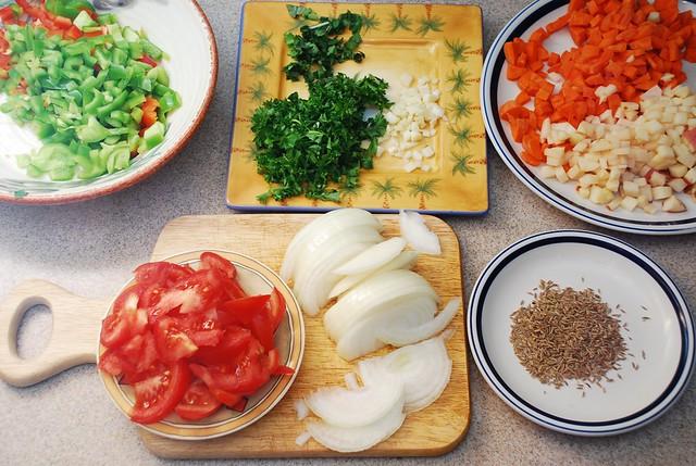 chopped vegetables cumin