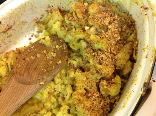 Baked Curry Cauliflower, in the pan