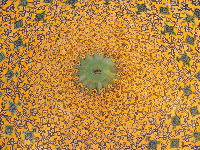 Isfahan mosque yellow Islamic design