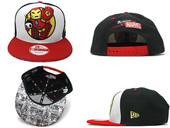 TOKIDOKI , MARVEL COMICS &  NEW ERA CAPTAIN AMERICA &  IRON MAN SNAPBACK CAPS