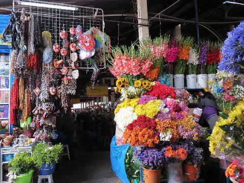 Inside City Market - ... flower market - San Pedro market, Cusco, Peru