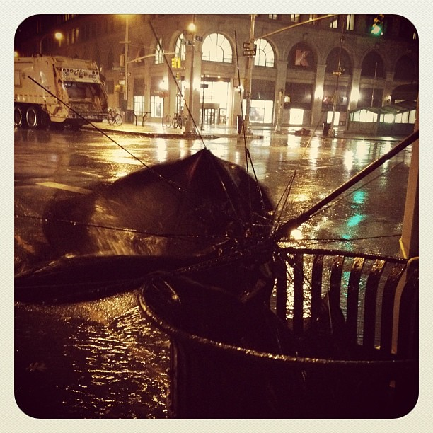 Another umbrella fail in NYC. Thanks Sandy!