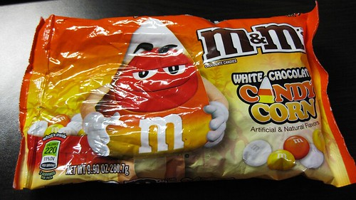 white chocolate candy corn m&ms bag