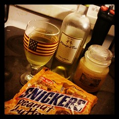 #noelectricity in #newhampshire from #Sandy still...  Close enough to 5:00, #wine #peanutbutter #snickers