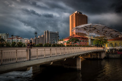cloudy skies over clarke quay, singapore