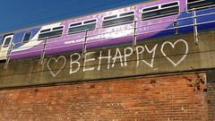 Graffiti on bridge/ railway viaduct  on Manchester inner relief road
