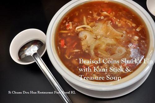B Braised Coins Shark Fin with Kani Steak and Treasuse Soup