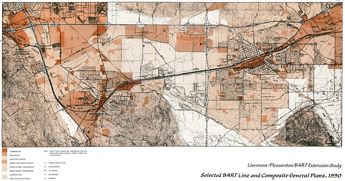 Livermore-Pleasanton BART Extension Study: Selected BART Line and Composite General Plans, 1990 (1976, east)