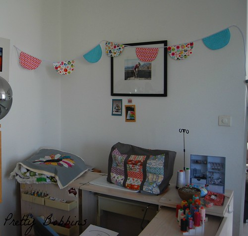 scallop bunting in sewing area