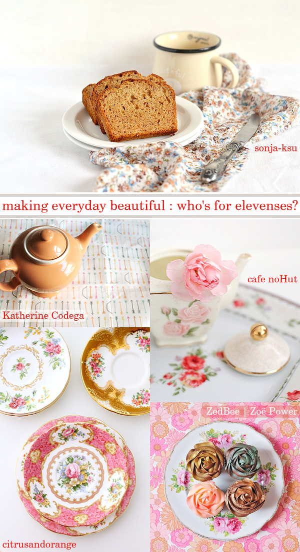Weekly favourites from our Flickr group 'making everyday beautiful': 1. cake with persimmon, cinnamon and whole wheat flour ..... by sonja-ksu, 2. Untitled by Katherine Codega, 3. Pink Carnation and little teapot by cafe noHut, 4. Vintage china collection by citrusandorange, 5. Cupcake lusciousness by ZedBee | Zoë Power