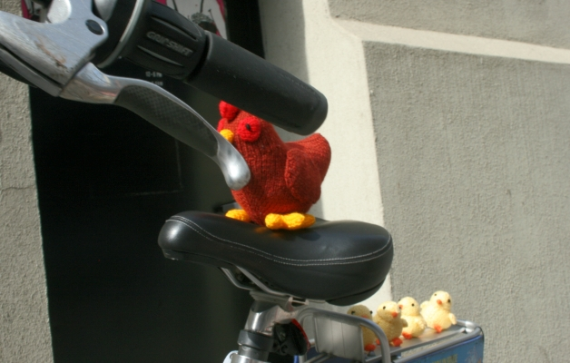 Chicken and Chicks on Motorcycle
