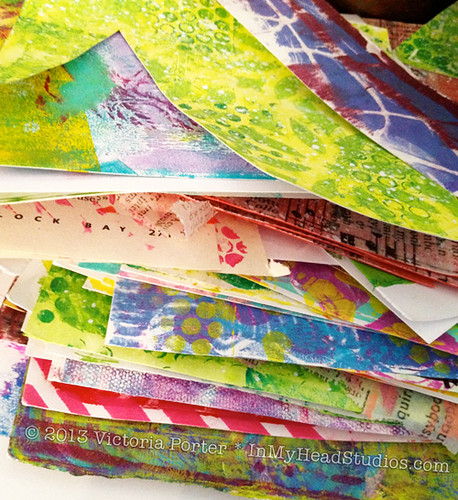 Pile of Gelli Prints