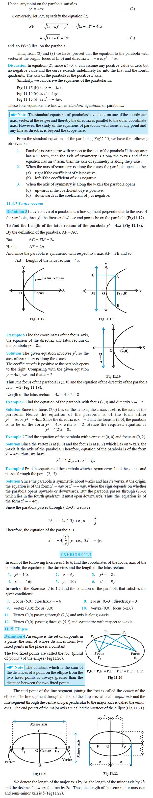 NCERT Class XI Mathematics Chapter 11 – Conic Sections