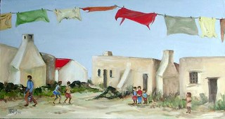 Cottages with washing