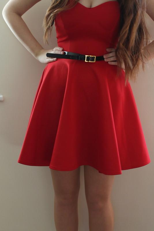 Chiara Fashion - red strapless dress, ASOS heels