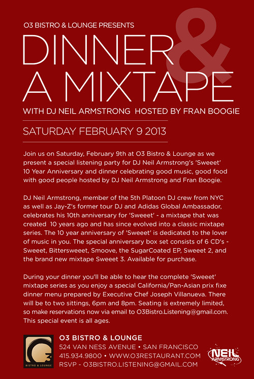 Dinner & A Mixtape - the 10 Year Anniversary of Sweeet Listening party Description