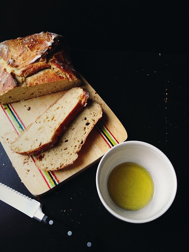 No Knead Einkorn Bread and fresh pressed olive oil