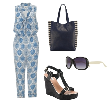 Somerset by Alice Temperley Tile Print Silk Jumpsuit Outfit