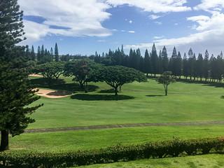 Uitzicht op de golfbaan vanaf onze lanai