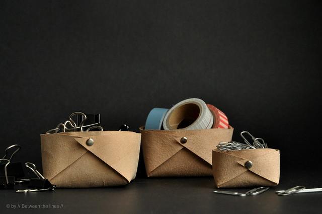 Panier de cuir plié :: un bricolage minimaliste