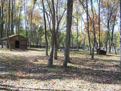Log cabin fort in playground at Equestrian Lakes, Shelby County KY