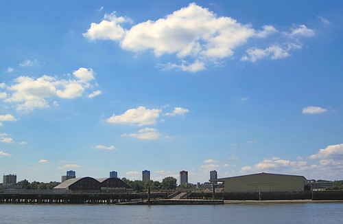 Convoys Wharf from the Isle of Dogs