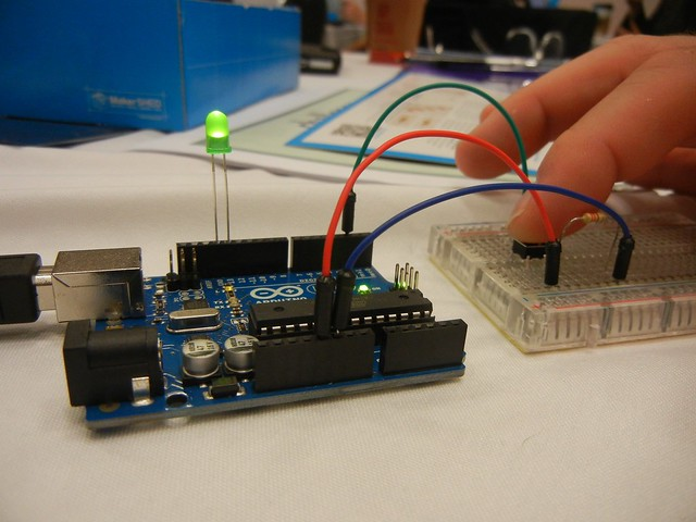 Arduino project creating a simple switch that lights an