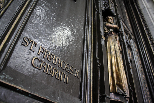 St Patrick Cathedral, New York (Mother Cabrini on the doors)