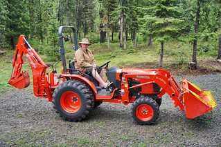Zach's bad-ass Kubota.  Removed a felled tree from the previous night's thunderstorm.  Priest Lake, ID.