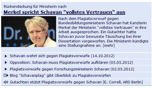 Screenshot tagesschau.de vom 15.10.2012