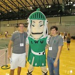 TOLs Jim Schiffer and Filip Swist take a quick break from greeting new students to pose with Tommy the Titan! --