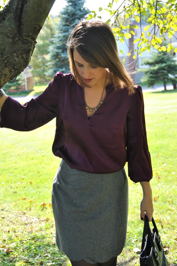 98e1df0b1a2778 c o Pim + Larkin Scalloped Wrap Skirt from Piperlime  LOFT blouse (2011)   Coach purse (2005)  JCrew via eBay necklace  Bauble Bar Cuff  Sam Edelman  Effie ...