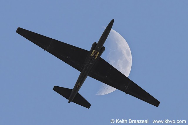 U-2 Dragonlady flying under the Moon © Keith Breazeal