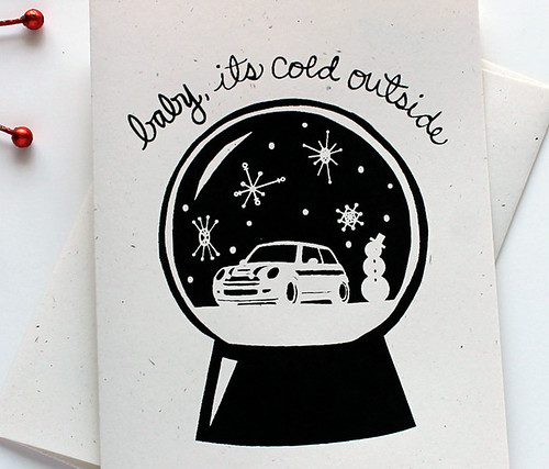 Baby it's cold outside. MINI Cooper HOliday Card