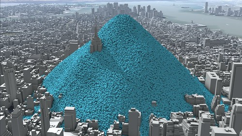 New York City's daily carbon dioxide emissions as one-tonne spheres.