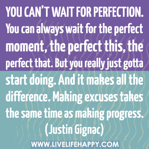 You can't wait for perfection. You can always wait for the perfect moment, the perfect this, the perfect that. But you really just gotta start doing. And it makes all the difference. Making excuses takes the same time as making progress.