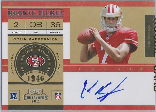 2011 Playoff Contenders #227B Colin Kaepernick no logo AU (of 250)