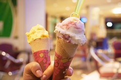 flower(0.0), milkshake(0.0), ice cream(1.0), sweetness(1.0), food(1.0), gelato(1.0), ice cream cone(1.0), pink(1.0),
