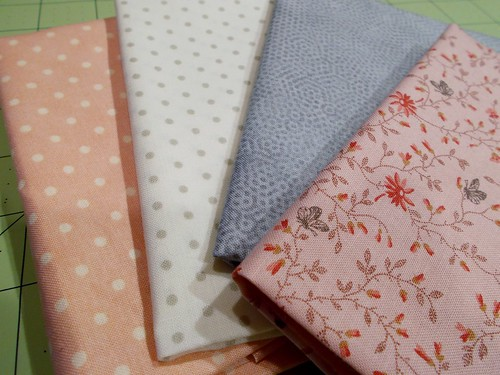 pink and gray hexagon fabrics