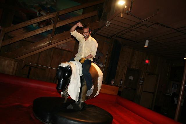Bull riding guy