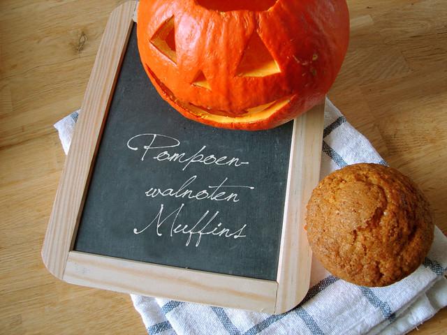 Pompoen-walnoten muffins