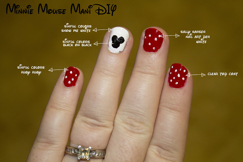 minnie mouse diy mani