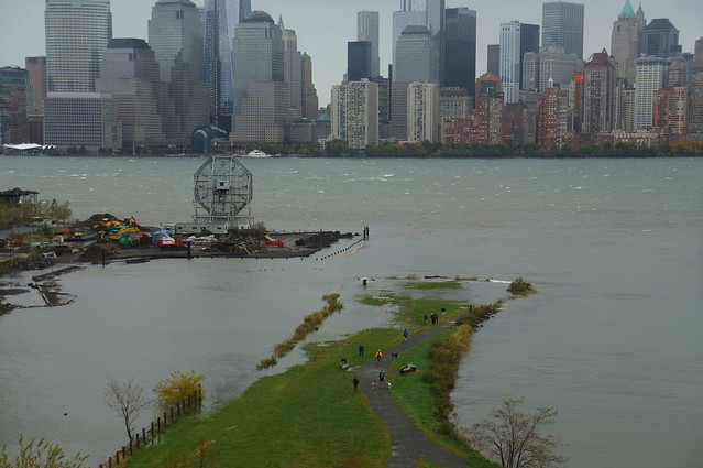 Morris Canal Park with portions flooded by Sandy's storm Surge, high tide Monday morning; photo by Augie Ray