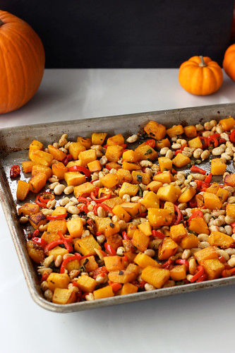 Pasta with Roasted Pumpkin, Peppers and White Beans - Gluten-free + Vegan