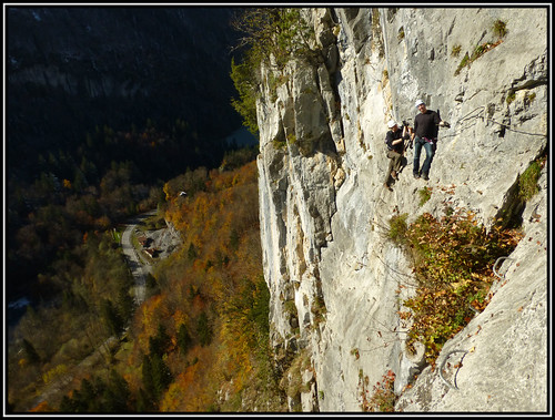 The stunning colours and impressive backdrop to an autumn via ferrata