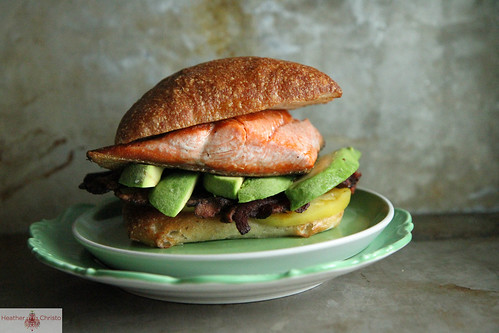 Crispy Salmon, Bacon and Avocado Sandwich