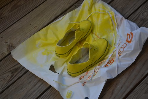 Step 1: acquire thrift store keds & paint 'em yellow