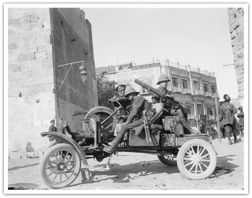 RARE photo of a British Army Ford Model T vehicle - EXCELLENT study of British soldiers ( Alexandra, Princess of Wales's Own Yorkshire Regiment , later The Green Howards) with Lewis machine gun posted at Jaffa Gate,Palestine - circa April 8th 1920