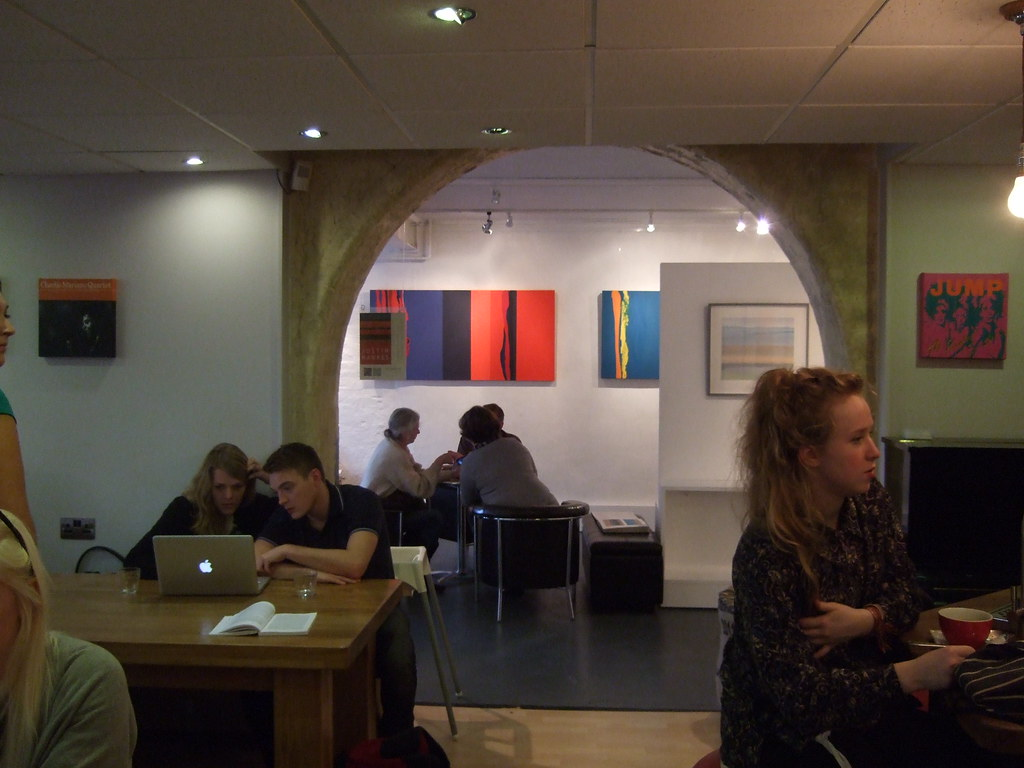 Justin Hawkes, view of exhibition at Williams Art Gallery, Cambridge 2012, seen from Hot Numbers Café.