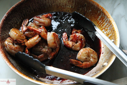 pomegranate glazed shrimp